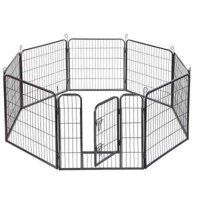 24 in. 1/3-Acre Dog Pet Playpen Heavy-Duty Metal In-Ground Exercise Fence Hammigrid 8-Panel Silver