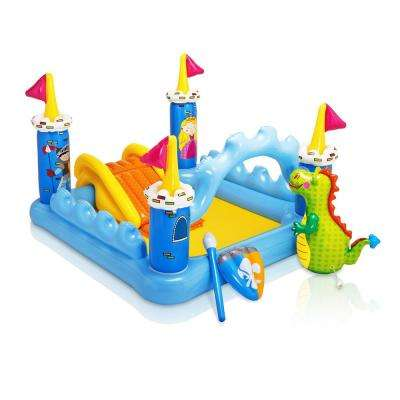 6 ft. x 5 ft. Rectangle 42 in. D Kiddie Fantasy Castle Water Play Swimming Pool Center for Kids Ages 2 Plus