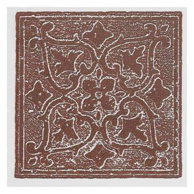4 in. x 4 in. Burgundy Vinyl Accent Self-Sticking Motif Decorative Wall Tile (27-Tiles Per Box)