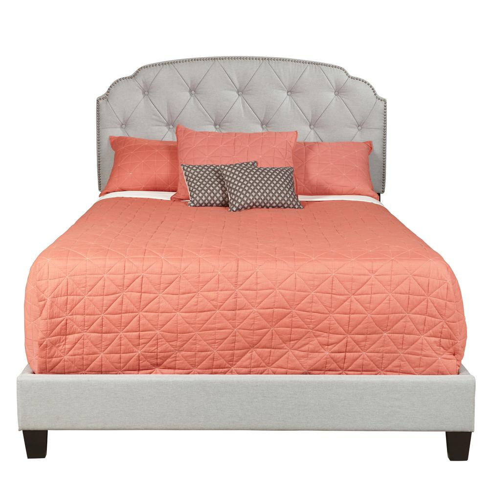 Accentrics Home King All In One Shaped Corners Upholstered Bed In Trespass  Marmor