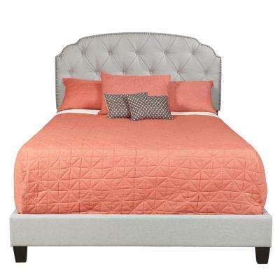 King All-In-One Shaped Corners Upholstered Bed in Trespass Marmor