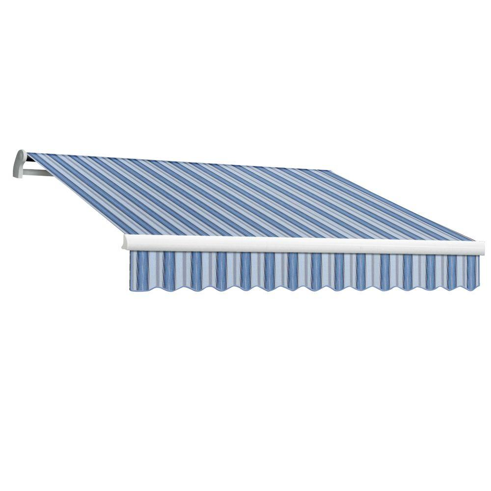AWNTECH 18 ft. Maui-LX Right Motor Retractable Acrylic Awning with Remote (120 in. Projection) in Blue Multi