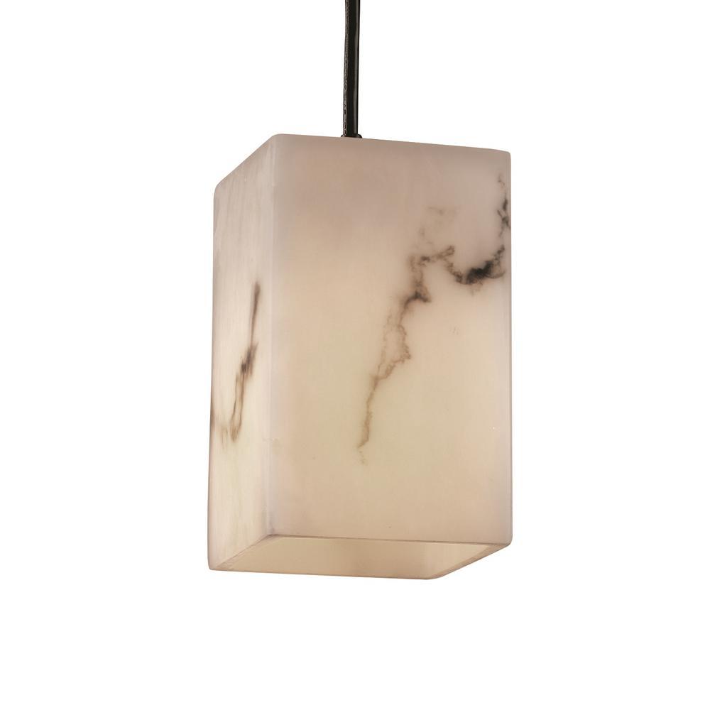 LumenAria 1-Light Dark Bronze Pendant with Faux Alabaster Shade