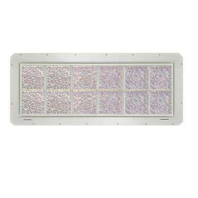 46.75 in. x 16.75 in. x 3.25 in. Ice Pattern Glass Block Window with White Colored Vinyl Nailing Fin