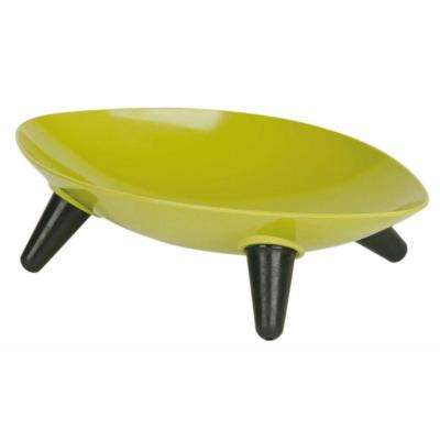 Melamine Couture Sculpture Single Dog Bowl in Olive Green