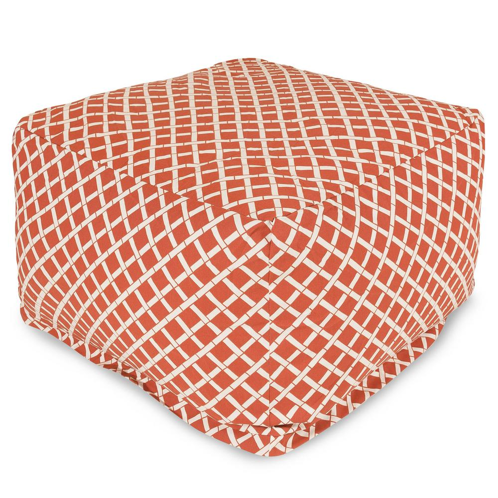 Burnt Orange Bamboo Indoor/Outdoor Ottoman Cushion