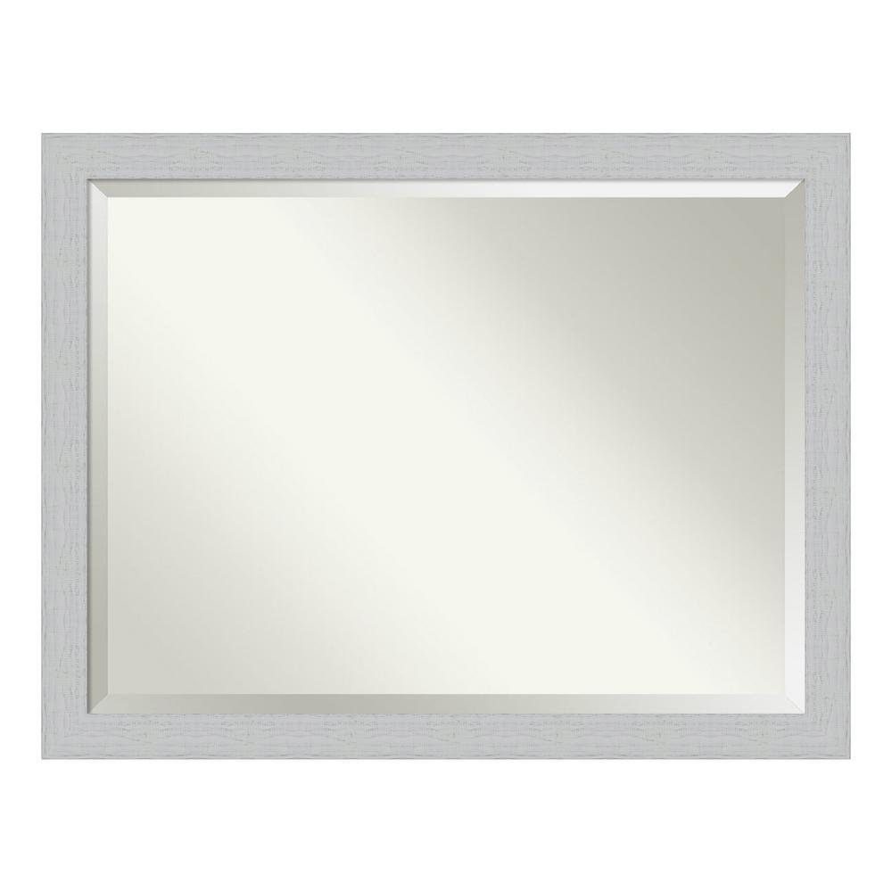 Amanti Art Shiplap White Bathroom Vanity Mirror DSW4093654
