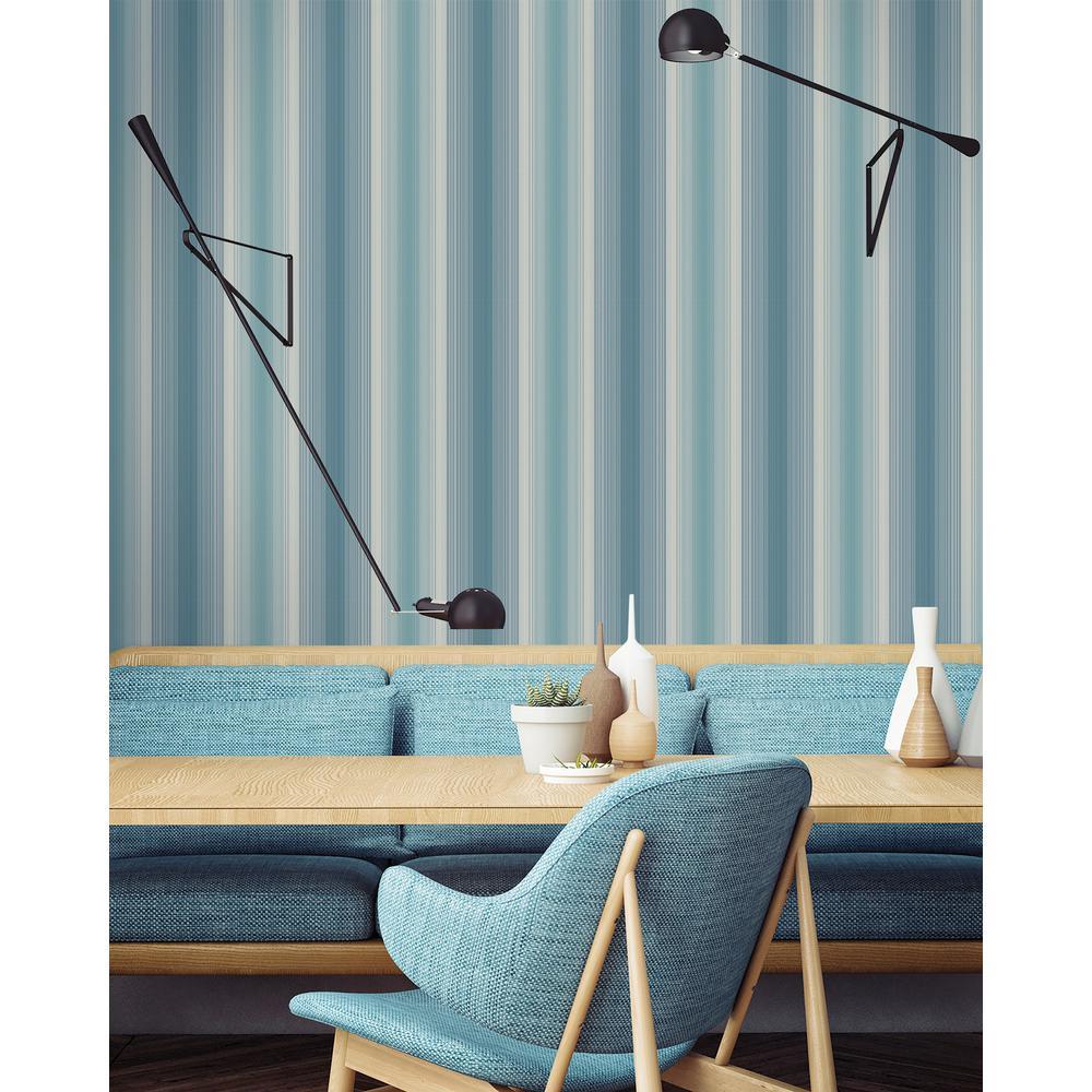Feldspar Metallic Teal and Blue Vertical Stripe Wallpaper