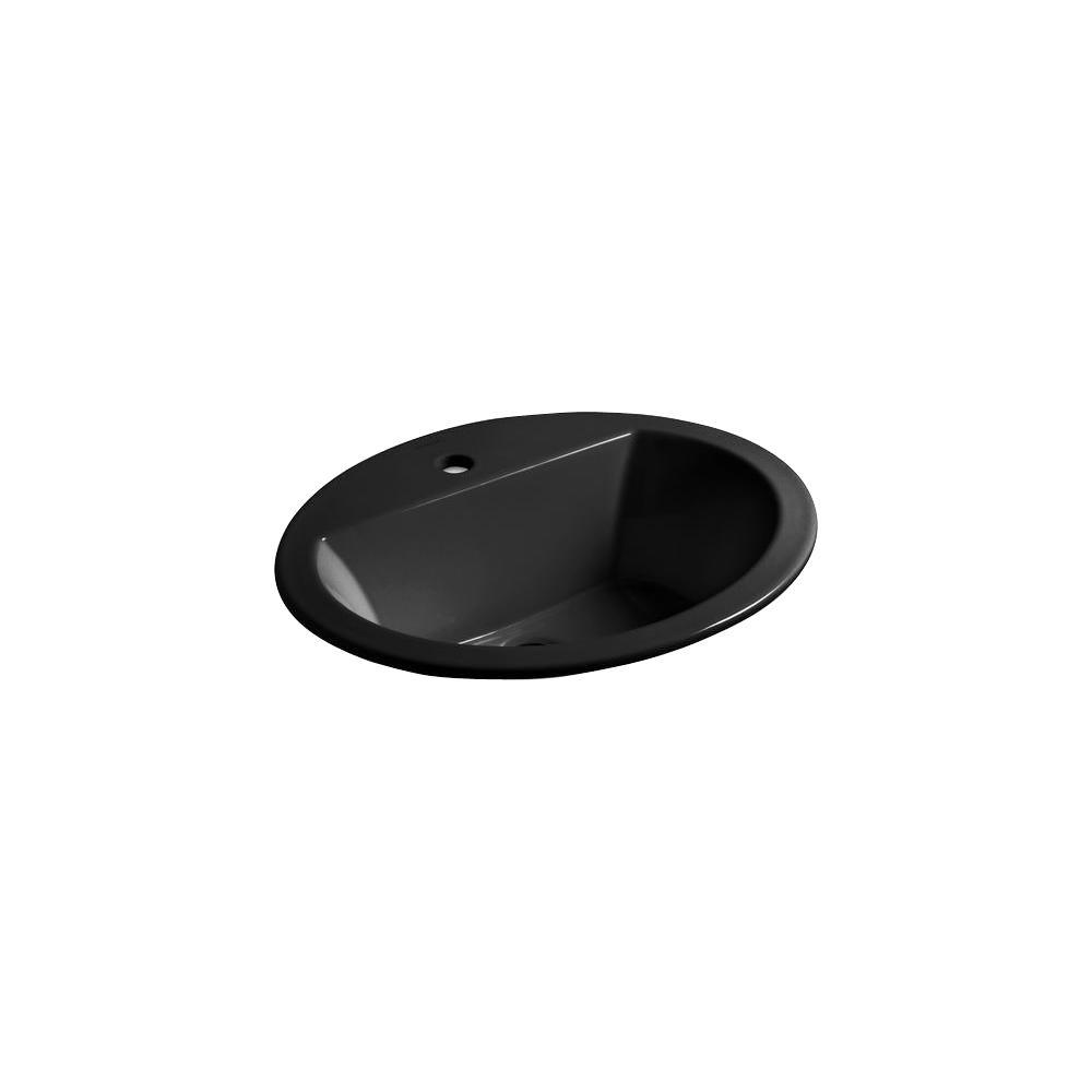 Bryant Oval Drop-In Vitreous China Bathroom Sink in Black Black with