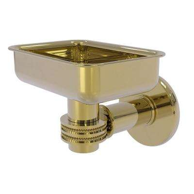 Continental Collection Wall Mounted Soap Dish Holder with Dotted Accents in Unlacquered Brass