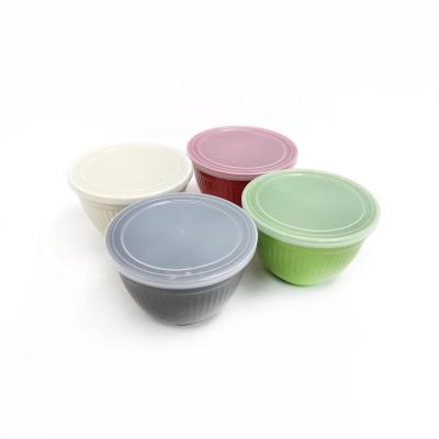 Assorted Molded Bamboo Small Bowls with Lids (Set of 4)
