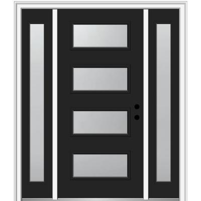 68.5 in. x 81.75 in. Celeste Left-Hand Inswing 4-Lite Frosted Modern Painted Steel Prehung Front Door with Sidelites