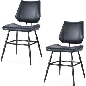 Black Leather Upholstered Metal Chair with Stitch Details (Set of 2)