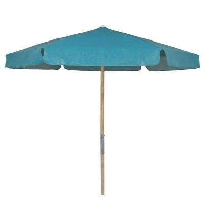 7.5 ft. Wood Beach Patio Umbrella with Teal Vinyl Coated Weave
