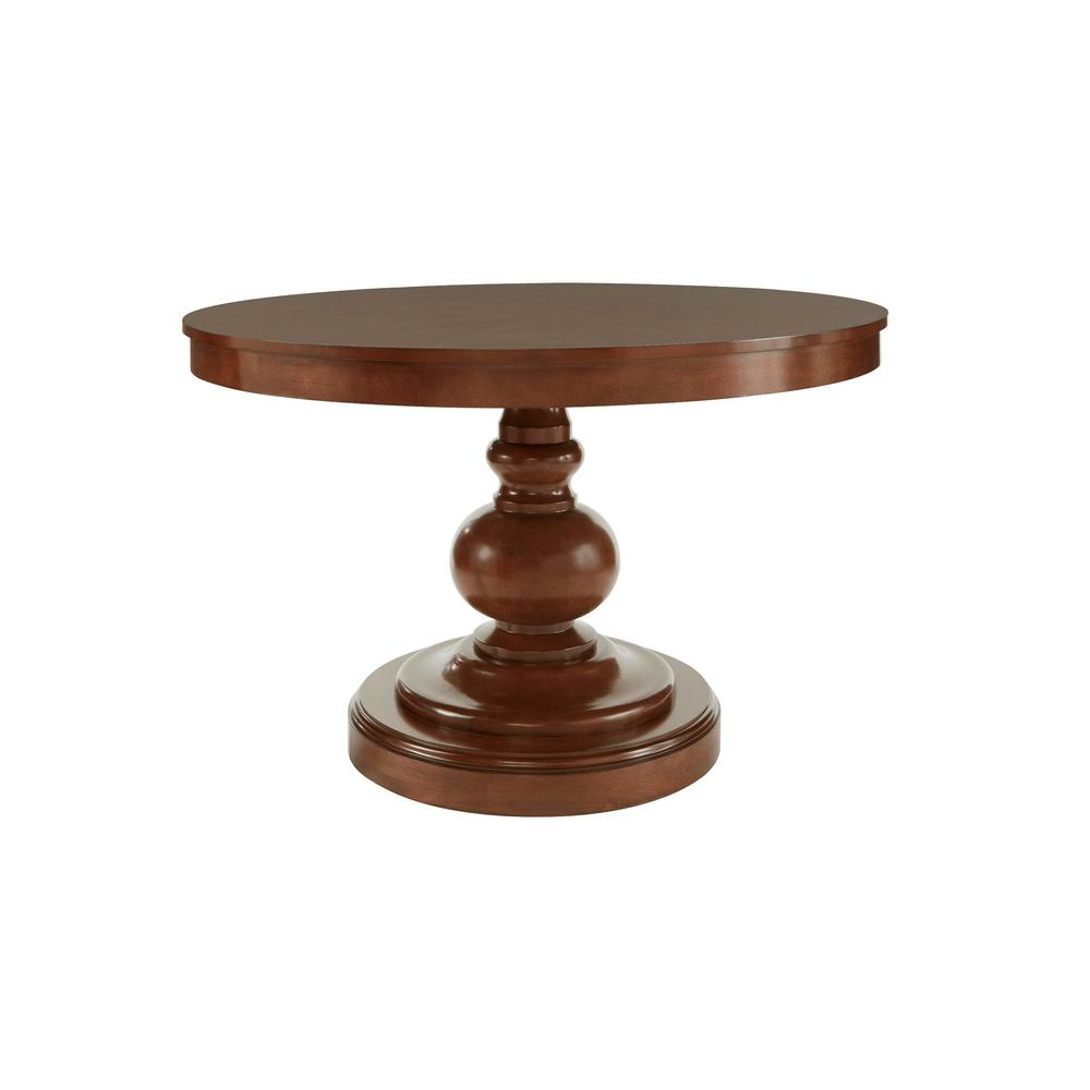 Greymont Walnut Finish Round Pedestal Dining Table for 6 (47.64 L x 29.75 in. H)