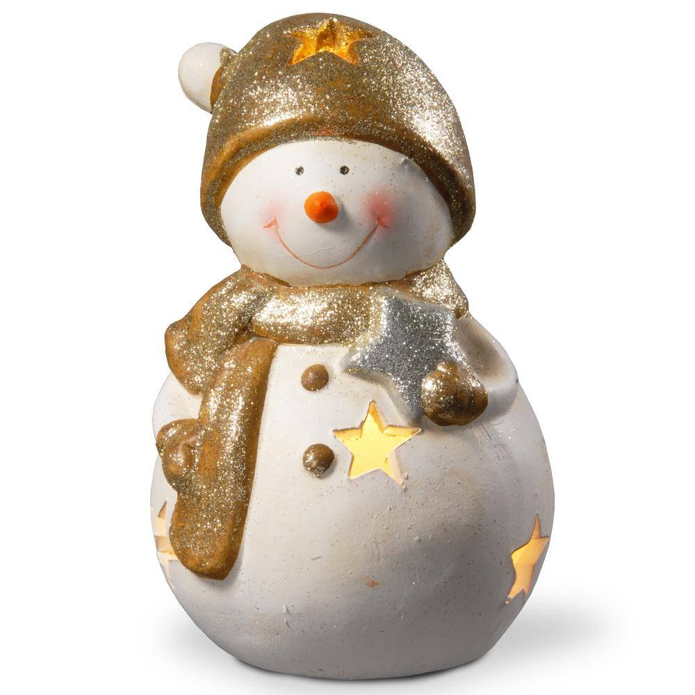 8 in. Lighted Holiday Snowman Decor