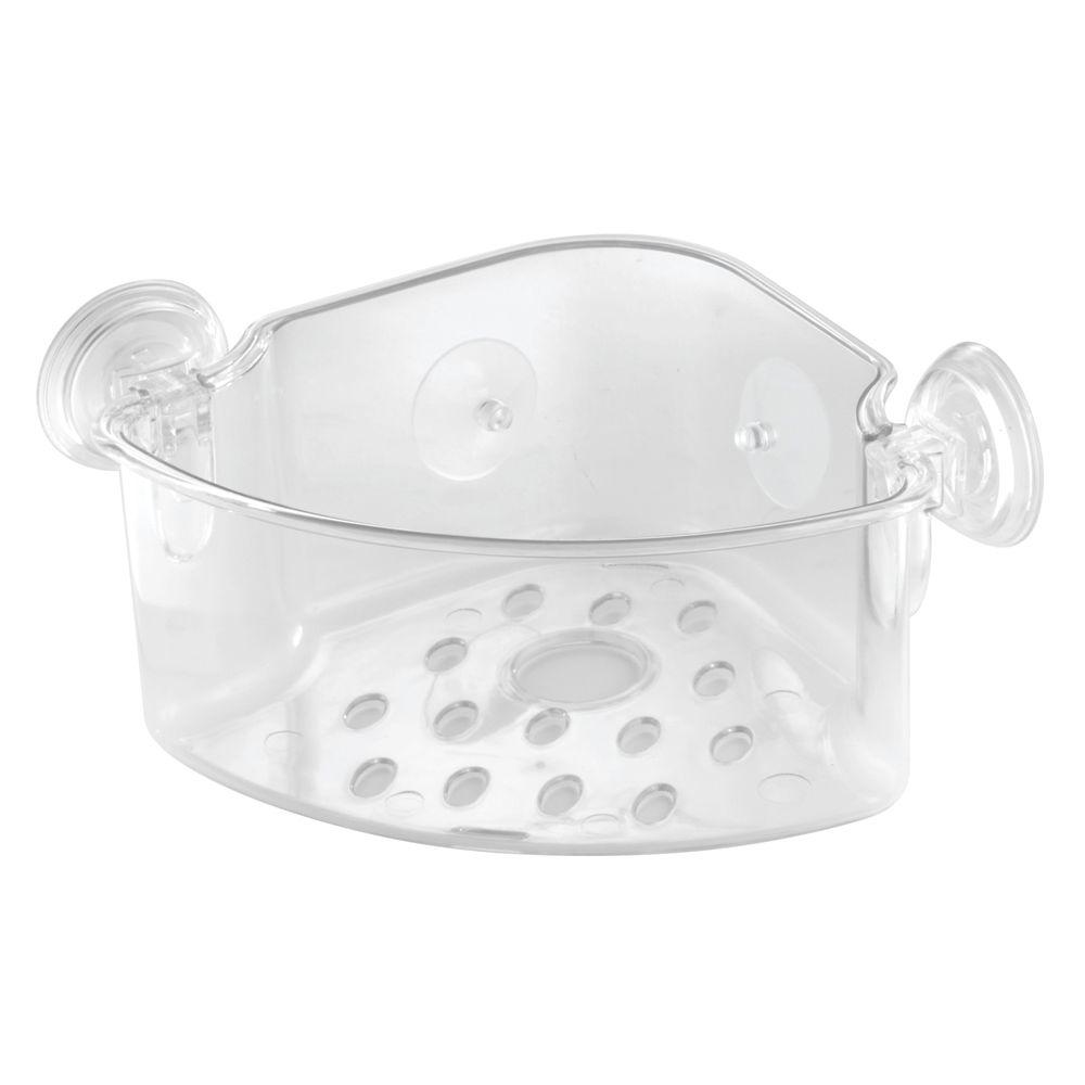null PowerLock Corner Shower Basket in Clear