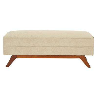 Beth Bench in Cush Sand Fabric with Ambered Legs