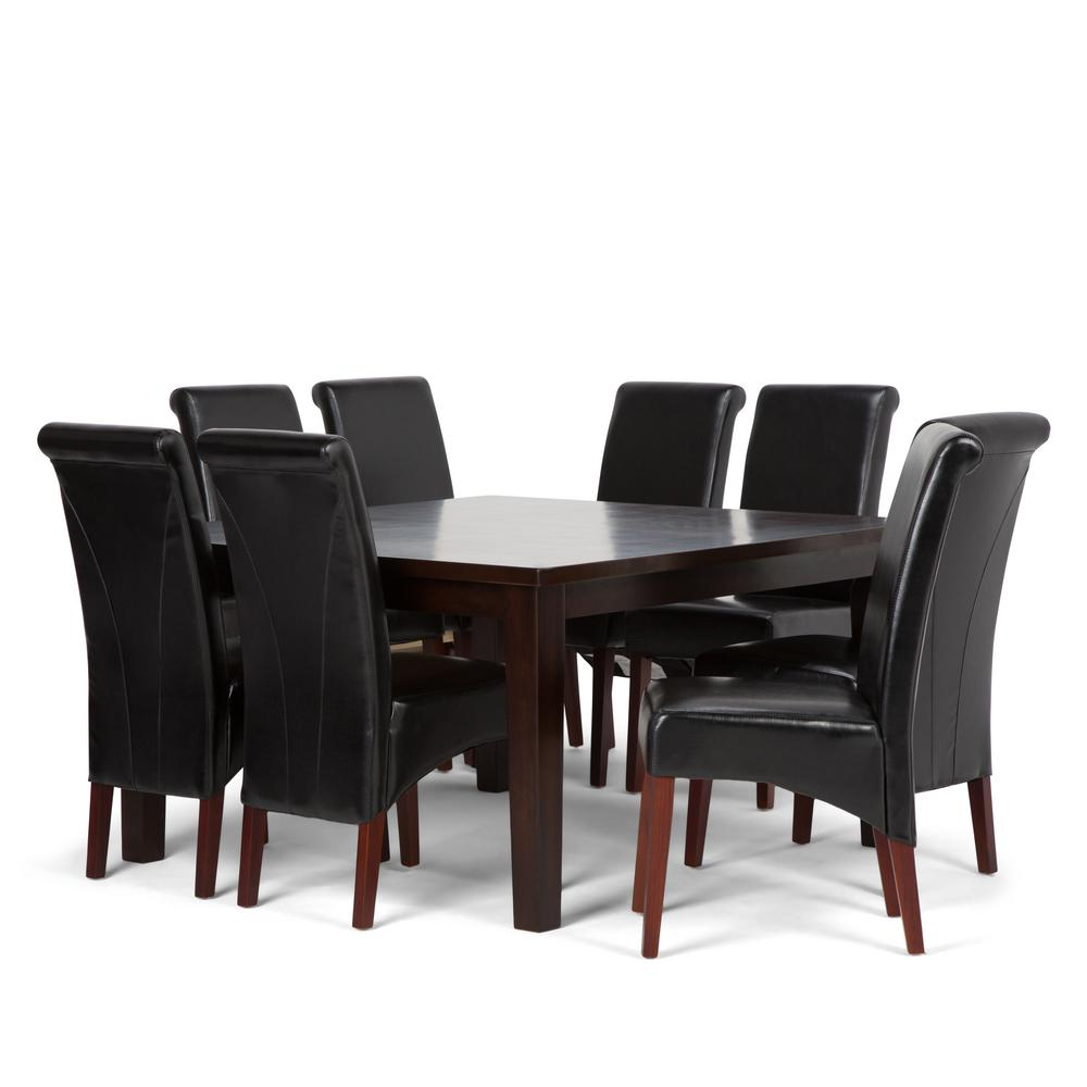 Simpli home avalon 9 piece midnight black dining set
