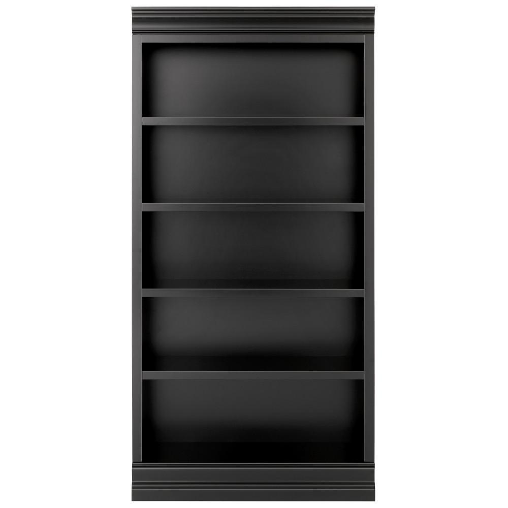 Louis Philippe Modular Center Black Open Bookcase