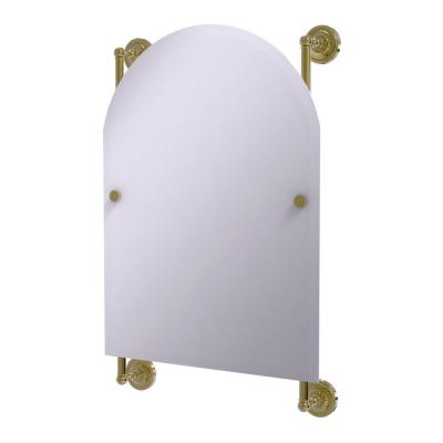 Prestige Regal 21 in. x 29 in. Single Arched Top Frameless Rail Mounted Mirror in Unlacquered Brass