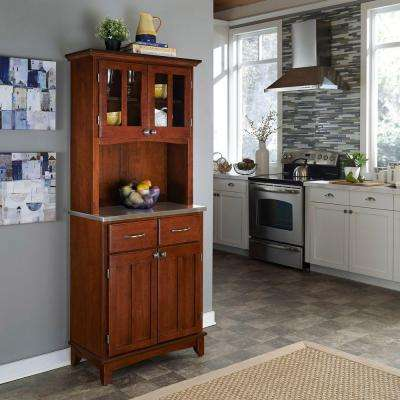Cherry and Stainless Steel Buffet with Hutch