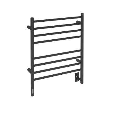 Prestige OBT 8-Bar Electric Wall Mount Plug-In and Hardwire Towel Warmer with Integrated On-Board Timer in Matte Black