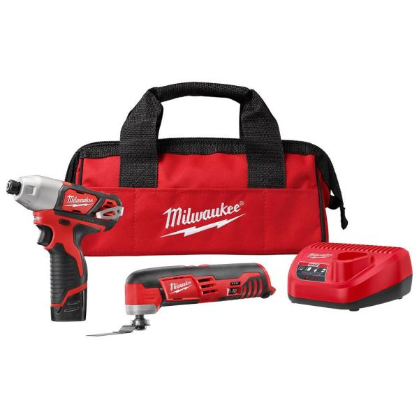 Milwaukee M12 12-Volt Lithium-Ion Cordless Oscillating Multi-Tool and Impact Driver Combo Kit (2-Tool) with Battery and Charger