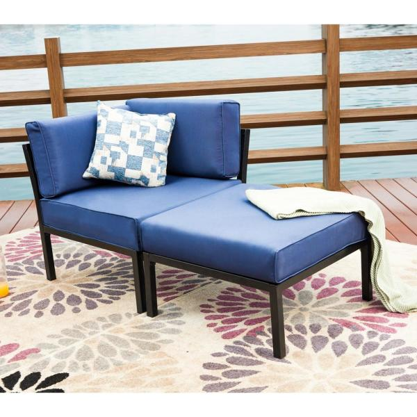 Patio Festival 2-Piece Metal Outdoor Sectional with Blue Cushions
