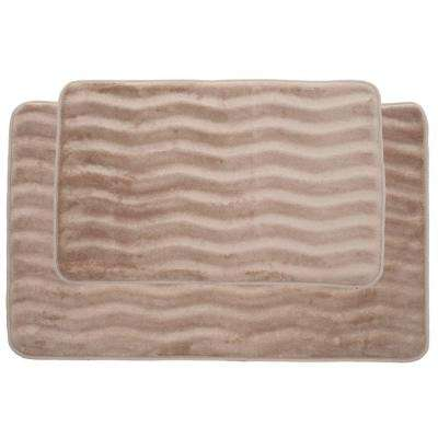 Taupe 20.25 in. x 32.25 in. Memory Foam 2-Piece Bath Mat Set
