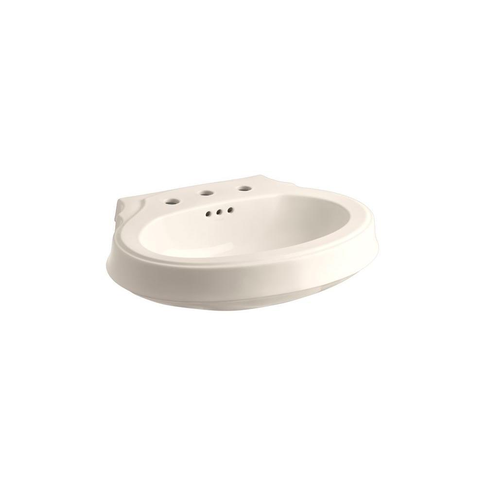 KOHLER Leighton 4-1/8 in. Pedestal Sink Basin in Innocent Blush-DISCONTINUED