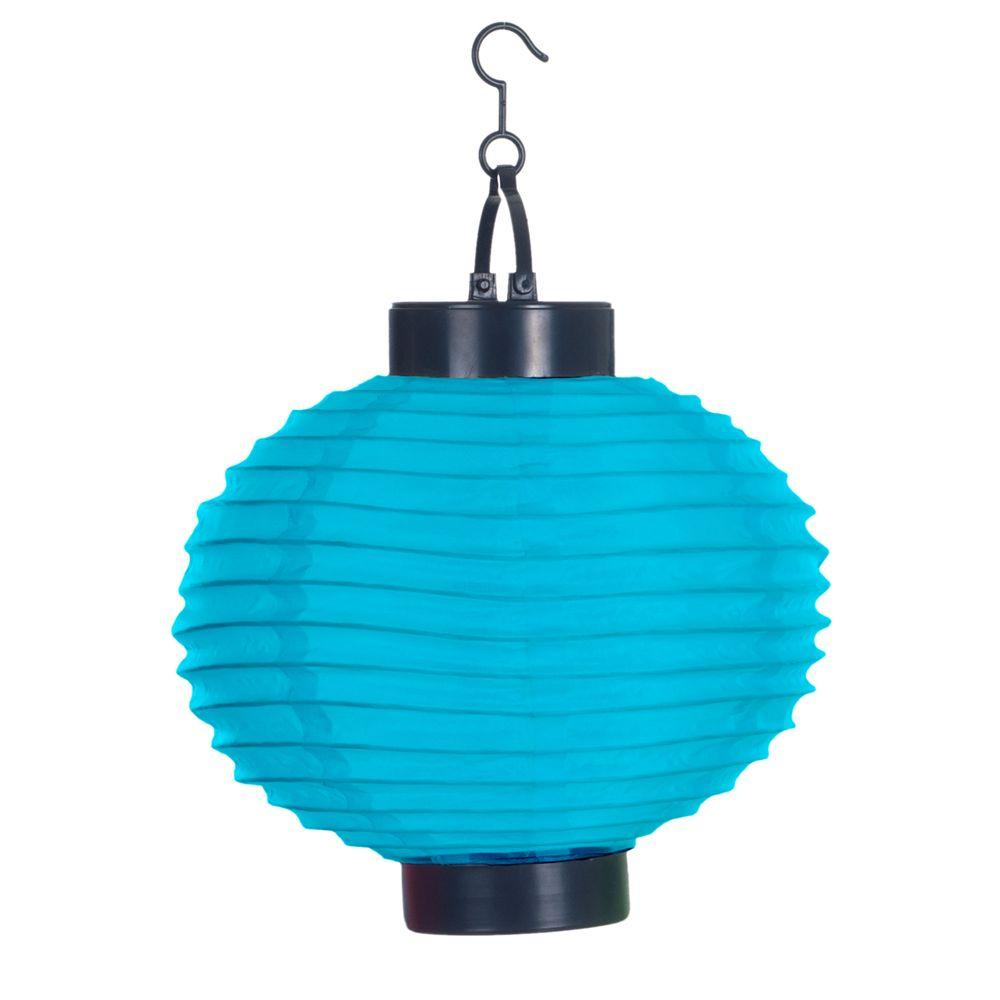 Pure Garden 4 Light Blue Outdoor LED Solar Chinese Lantern
