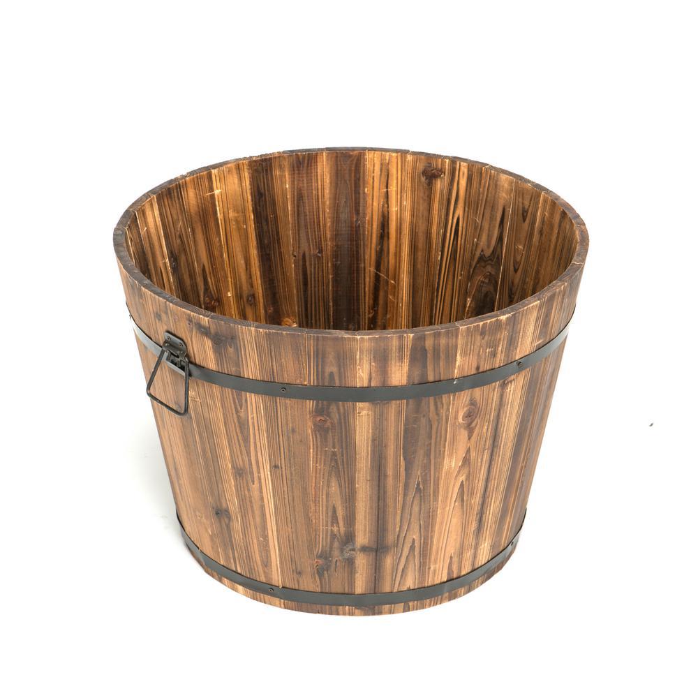 23 inch Dia x 17 inch H Brown Cedar Wood Round Large Garden Planter Whiskey Barrel by