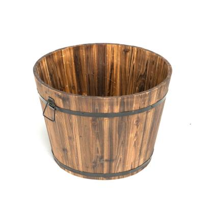 23 in. Dia x 17 in. H Brown Wooden Large Round Whiskey Barrel Planter