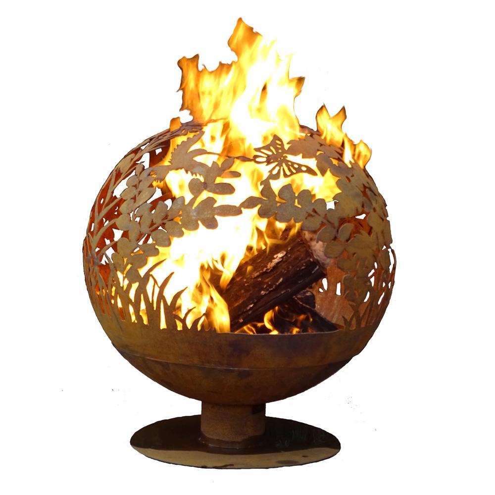 Esschert Design Garden 32 in. x 36 in. Round Steel Wood Burning Fire Pit in Rust