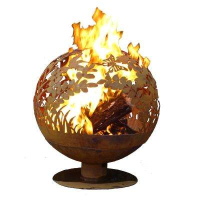 Garden 32 in. x 36 in. Round Steel Wood Burning Fire Pit in Rust