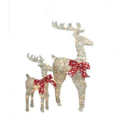 36 in. Christmas Outdoor Decorations Sparkling Standing Reindeer (2-Pack)