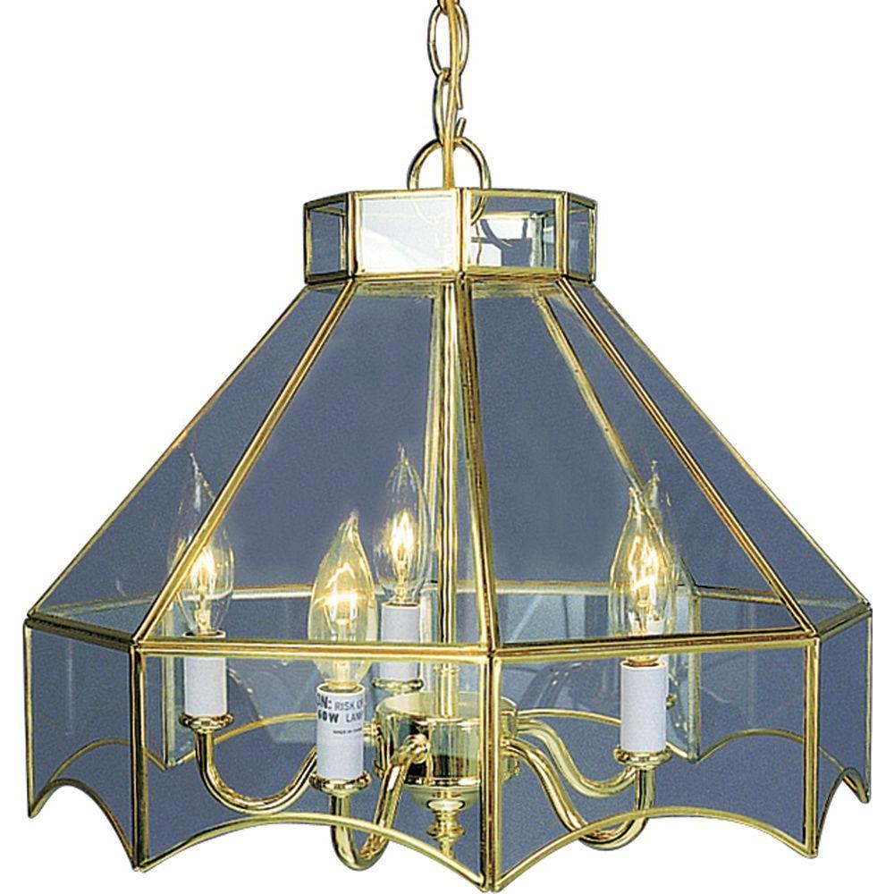5-Light Polished Brass Bound Glass Chandelier