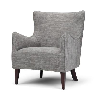 Libby 28 in. Wide Contemporary Modern Winged Back Accent Chair in Grey Tweed Fabric