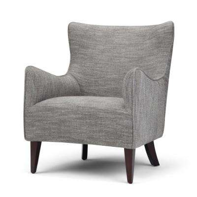 Libby Grey Tweed Fabric Winged Back Accent Chair