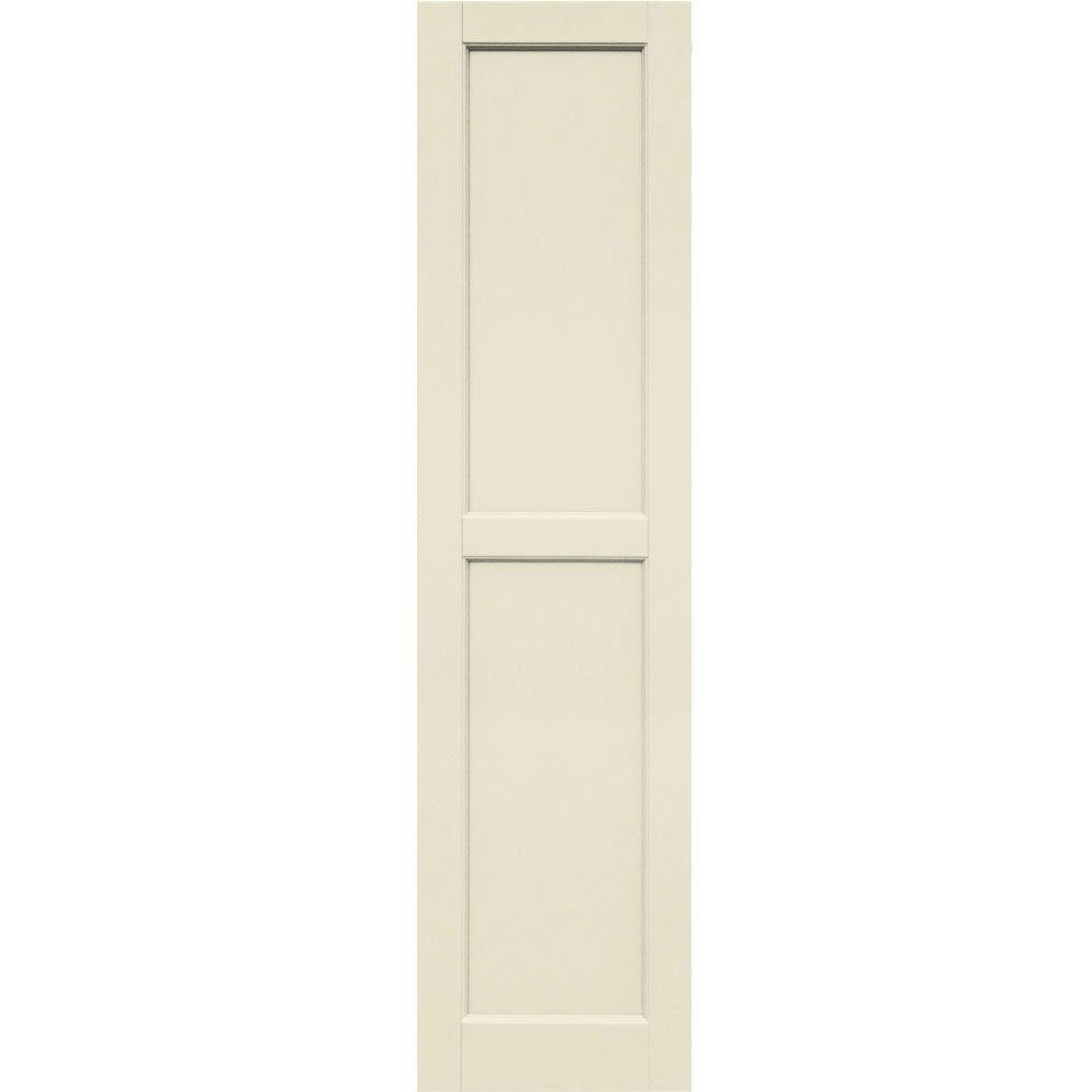Winworks Wood Composite 15 in. x 60 in. Contemporary Flat Panel Shutters Pair #651 Primed/Paintable