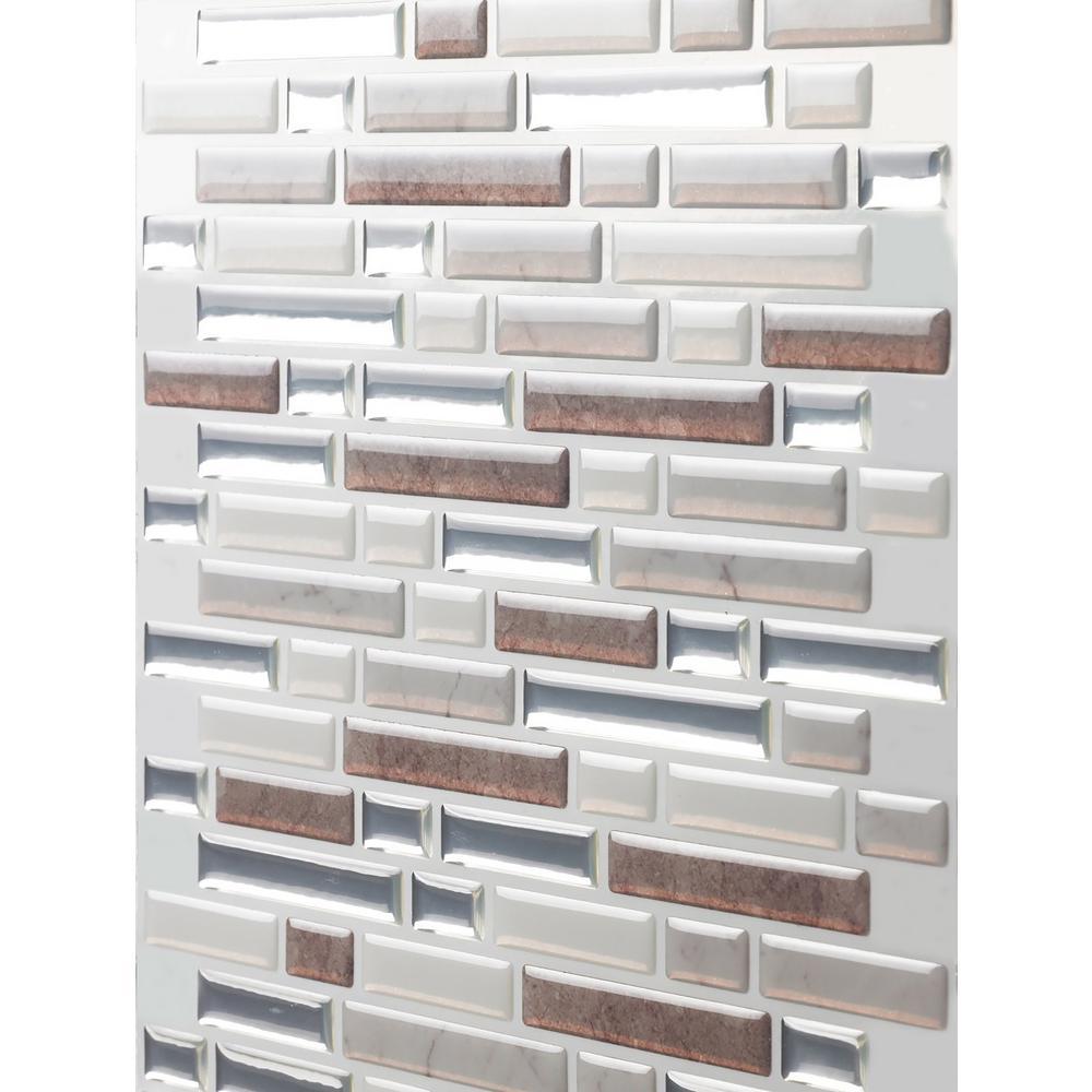 Como Pebble 10 in. W x 10 in. H Peel and Stick Self-Adhesive Decorative Mosaic Wall Tile Backsplash (5-Tiles)