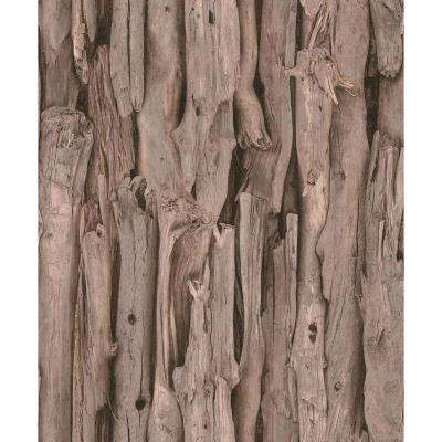 African Queen II Deeply Shaded Brown Wood Log Print Wall Paper