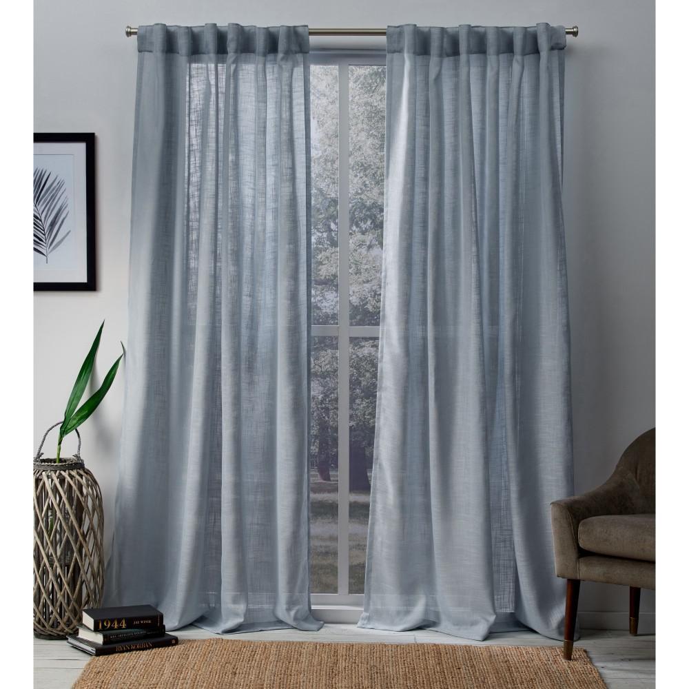 Bella 54 in. W x 84 in. L Sheer Hidden Tab Top Curtain Panel in Melrose Blue (2 Panels)