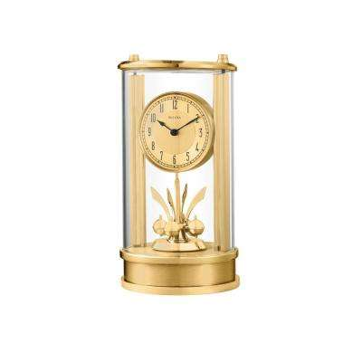 7.5 in. H x 5 in. W Anniversay Clock With Two Toned Gold in a Glass Cylinder