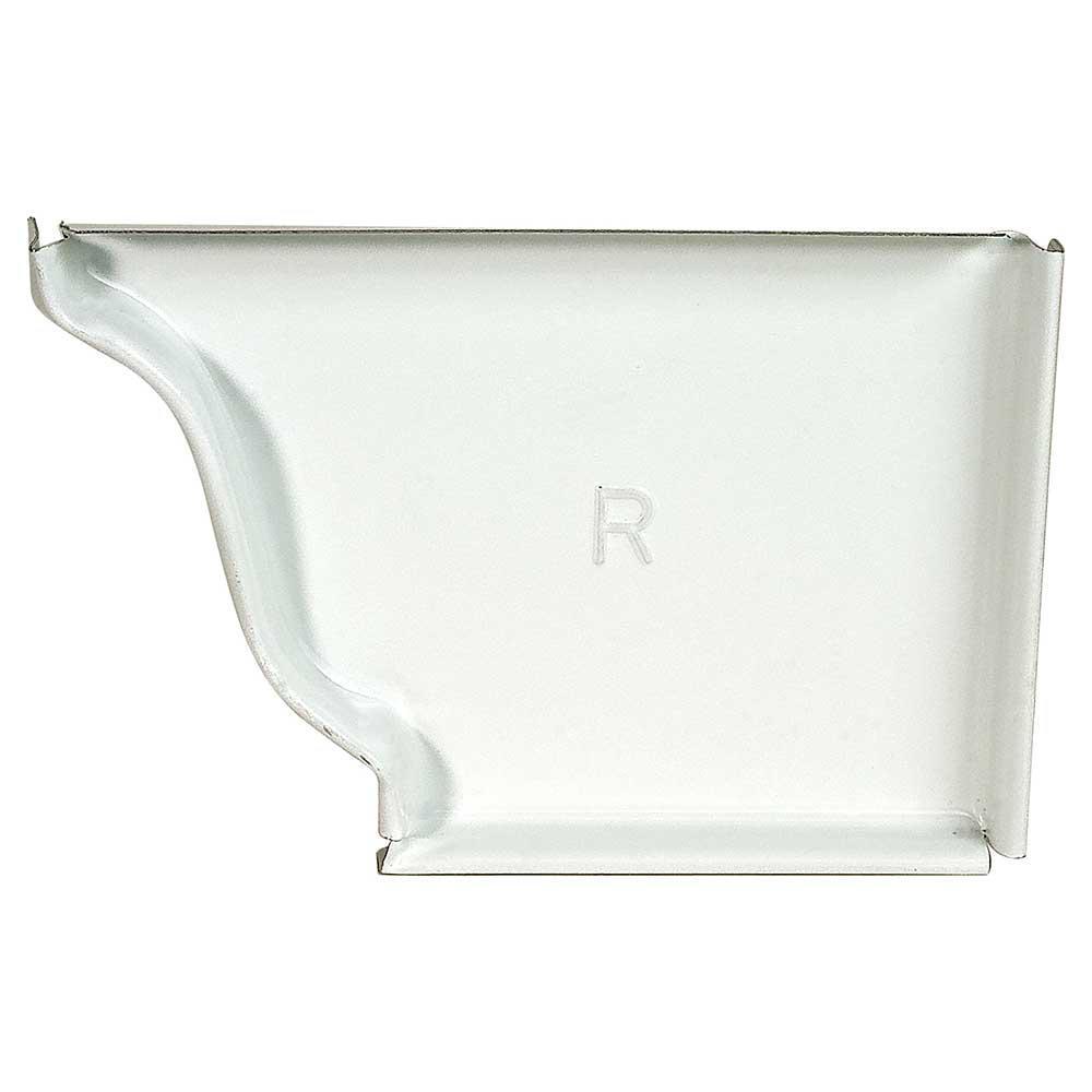 5 in. White Aluminum K-Style Gutter Right End Cap