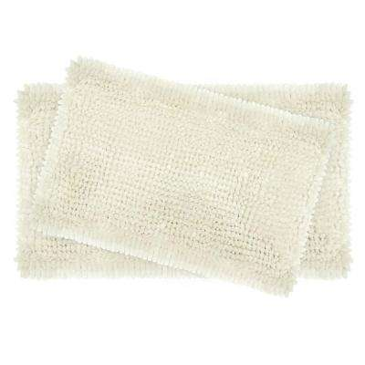 Butter Chenille 20 in. x 34 in. and 17 in. x 24 in. 2-Piece Bath Mat Set in Ivory