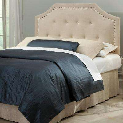 Avignon Twin-Size Upholstered Adjustable Headboard with Button Tufting and Contrast Tape Nailhead Trim