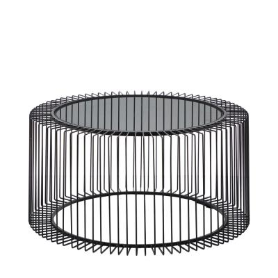 LITTON LANE Round Black Metal Coffee Table With Glass Top, 31.5 in. x 15 in.