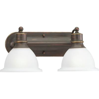 Madison Collection 2-Light Antique Bronze Bathroom Vanity Light with Glass Shades